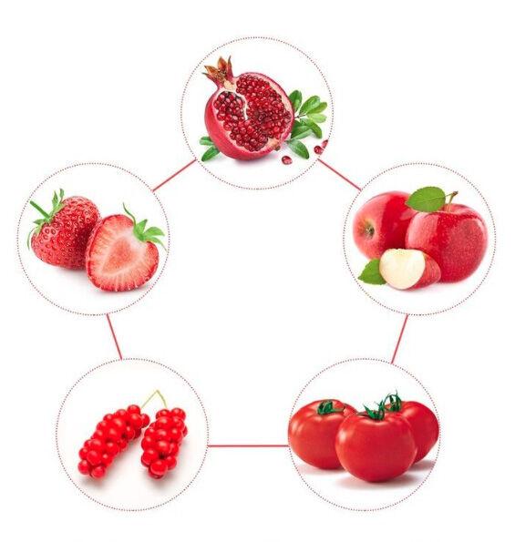 Magas antioxidáns tartalmú piros gyümölcsökből álló likopin komplexet tartalmaz
